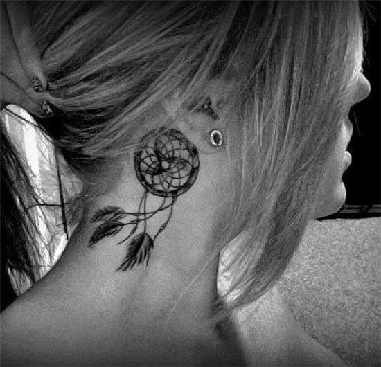 dreamcatcher tattoo on neck