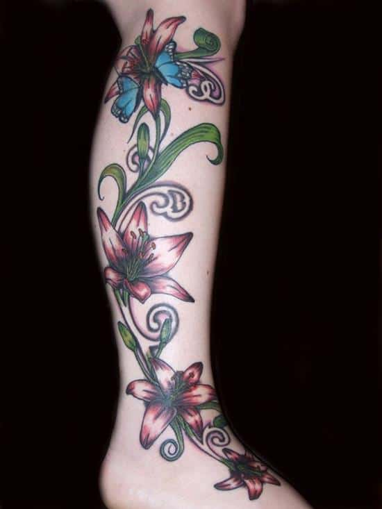 15-Lily-Tattoo-on-leg