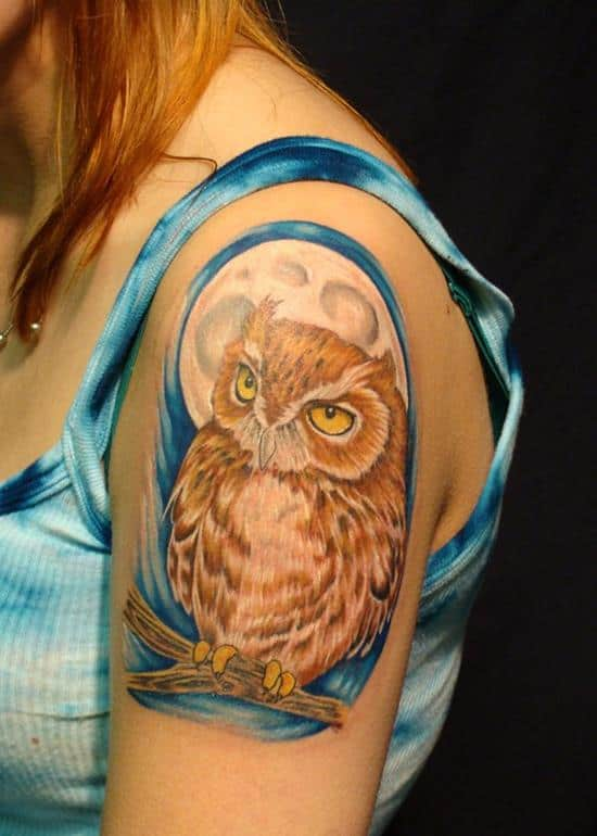 colorful owl tattoo