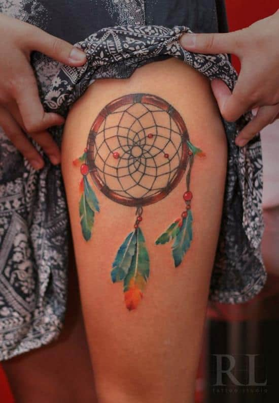 dream catcher tattoo on leg