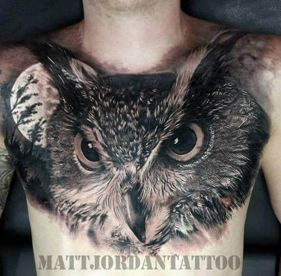 3d owl chest tattoo