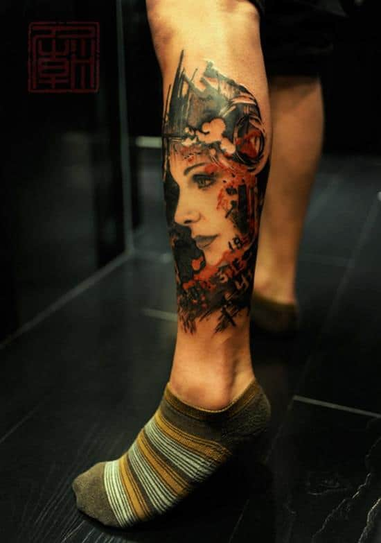 22-Freshly-Done-Mings-Girl-leg-tattoo
