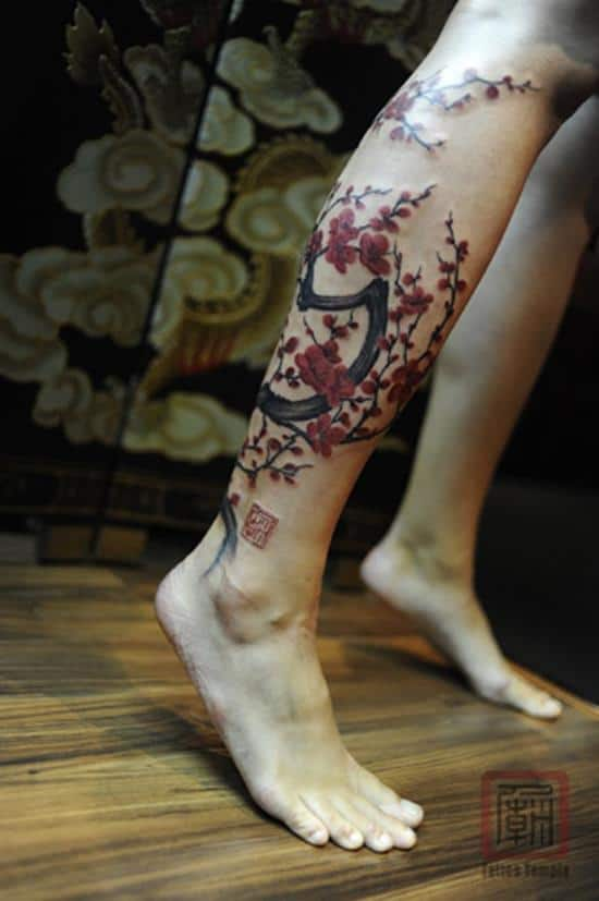 23-Cherry-Blossom-Tree-tattoo-on-leg