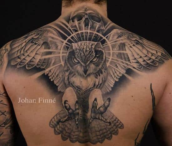 wide back owl tattoo