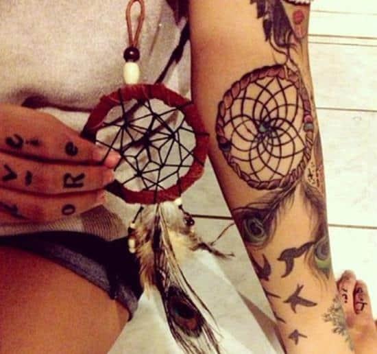 Dreamcatcher half sleeve tattoo