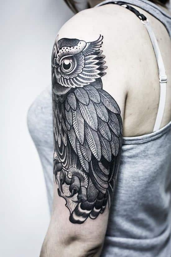 owl ink arm tattoo