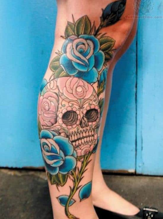 37-skull-and-rose-leg-tattoo