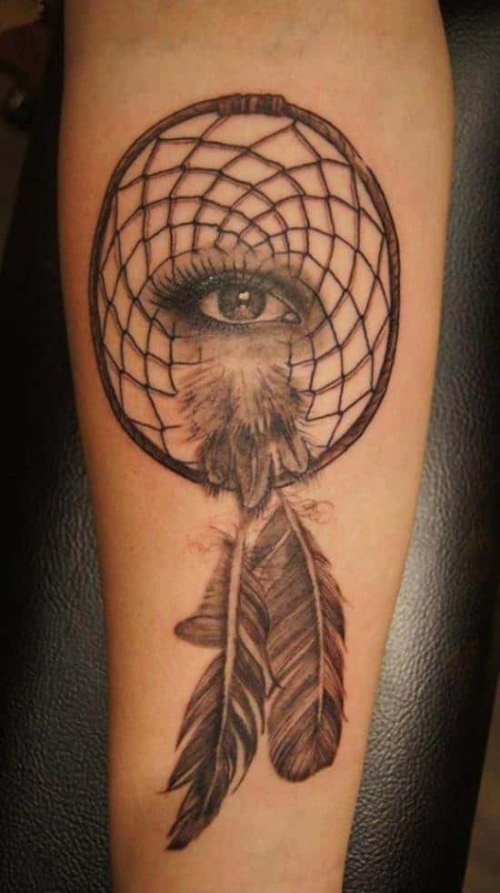 eye and dreamcatcher tattoo design