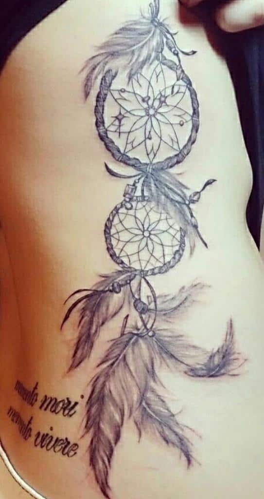 french quote and dreamcatcher tattoo idea