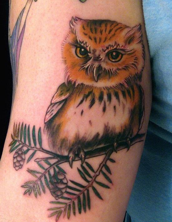 simple owl tattoo