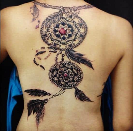 red bead dreamcatcher tattoo design