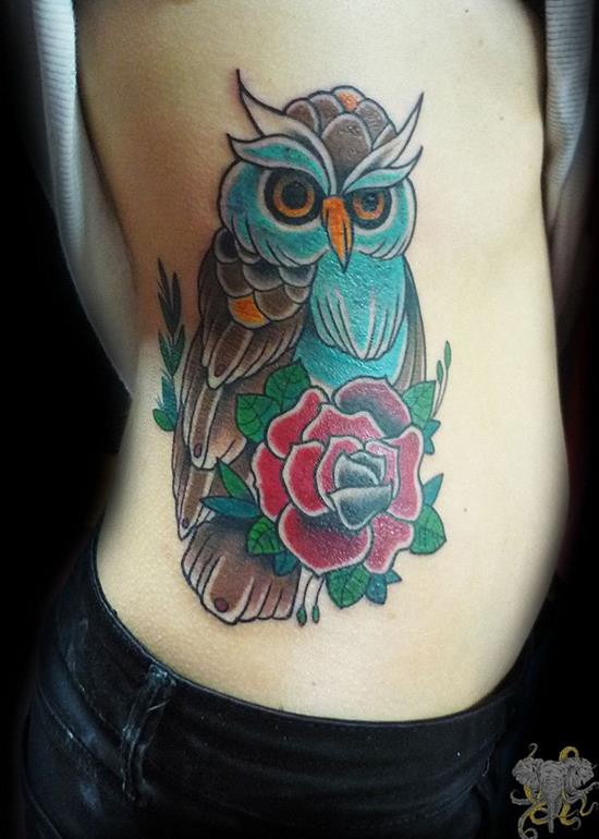 watercolor owl tattoo woman