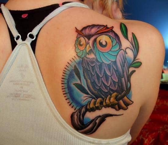 44-Colour-Owl-Tattoo-on-Back1