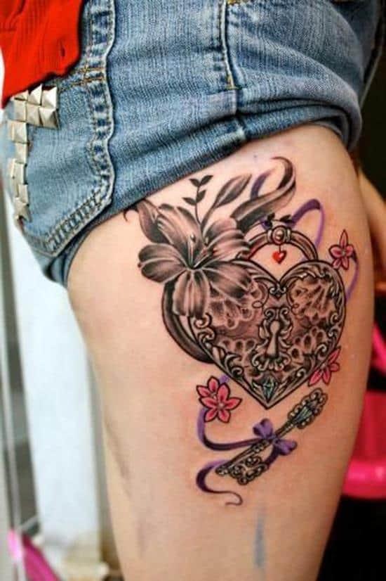 45-Heart-+-Key-leg-tattoo