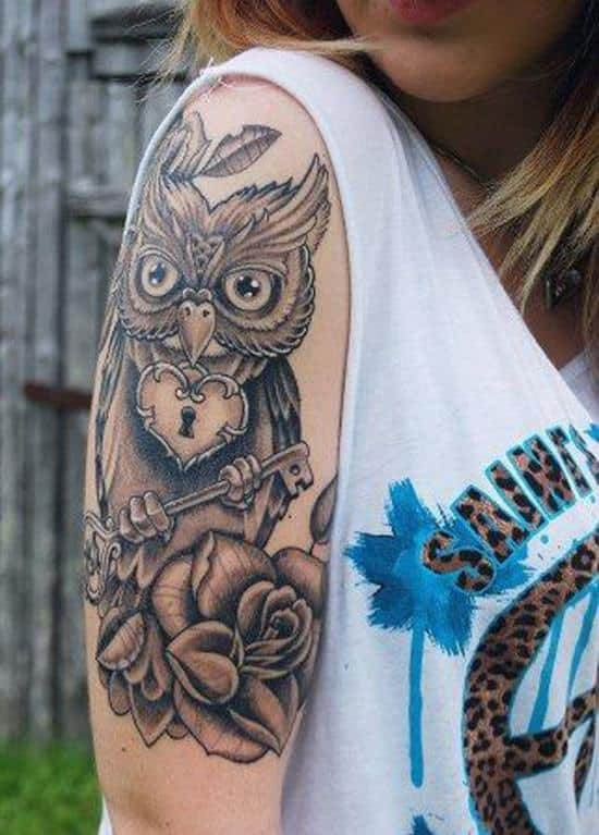 shoulder owl tattoo woman