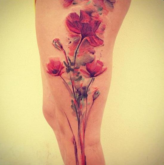 47-Watercolour-flower-tattoos-on-leg