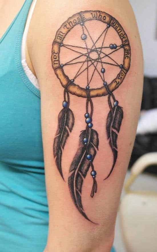 not all those who wander are lost dreamcatcher tattoo design