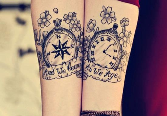 7-Compass-and-watch-matching-tattoos