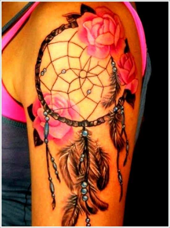dreamcatcher and pink roses tattoo idea