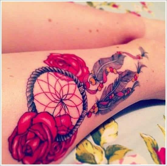 rosy dreamcatcher tattoo design on leg