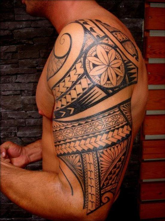 Polynesian-half-sleeve-Tattoos-for-Men