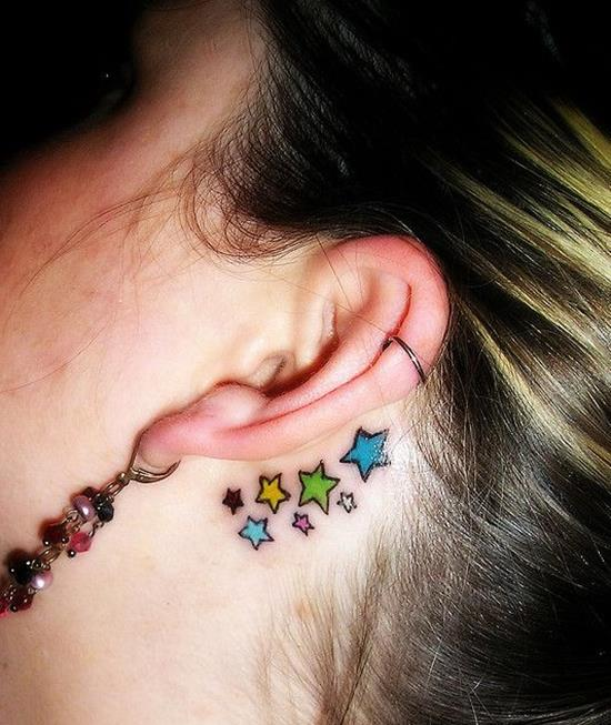 Star-tattoos-designs-for-girls-Behind-the-ear-tattoos-ideas