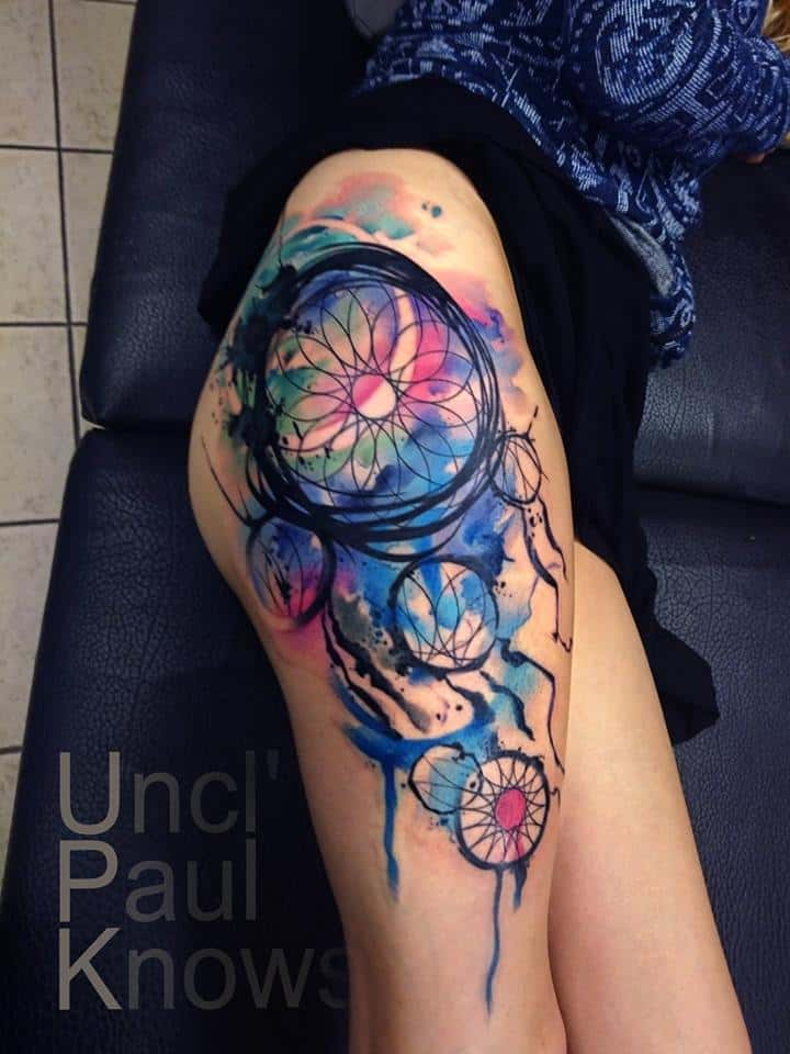 Amazing Watercolor Dreamcatcher Tattoo
