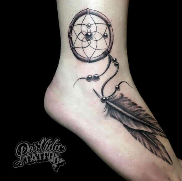 Dreamcatcher Tattoo on Ankle