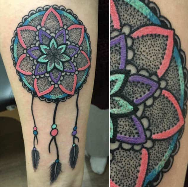 Colorful Dotwork Dreamcatcher Tattoo