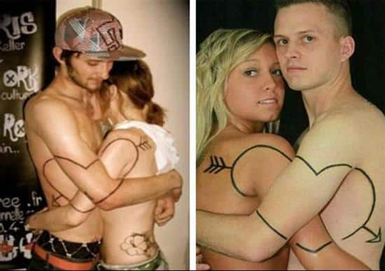 couples-tattoos-heart-combination