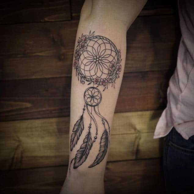 Dreamcatcher with Flowers Tattoo