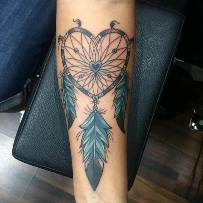 dreamcatcher heart tattoo