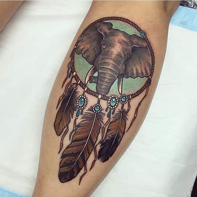 elephant dreamcatcher tattoo