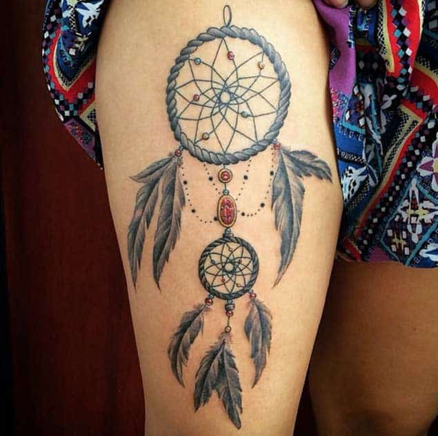 Floral Dreamcatcher Tattoo Design