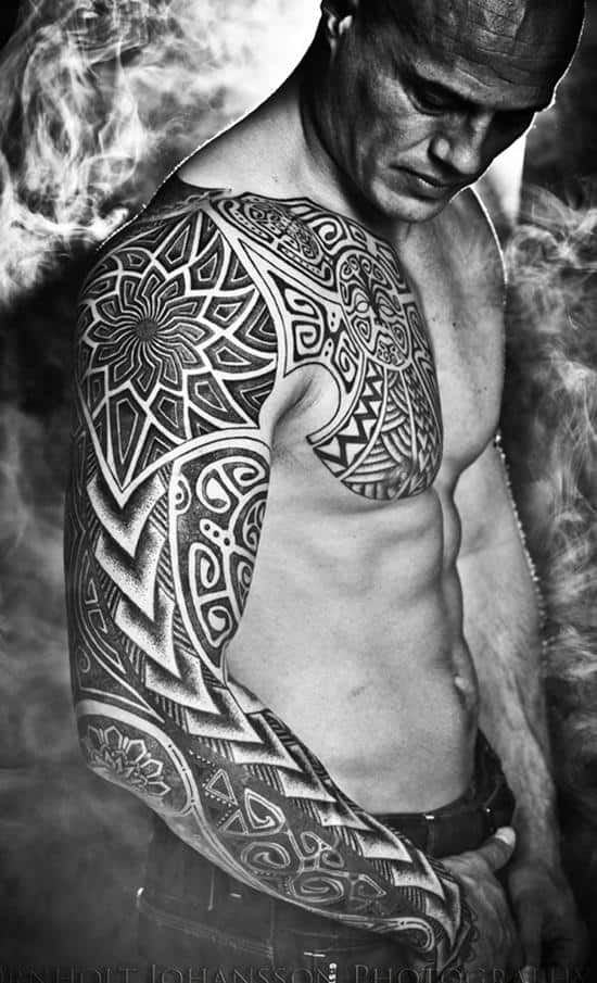 full-sleeve-tribal-tattoo