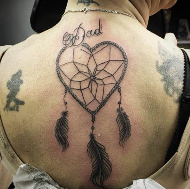 Dreamcatcher Tattoo with Heart-Shaped Hoop