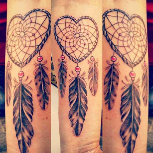 Heart-Shaped Willow Hoop Dreamcatcher Tattoo