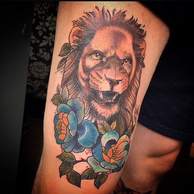 1a7a7c96f3a18 ... so that the features of the lion are accentuated to the best. Also you  can check out most popular dreamcatcher tattoos of all time.