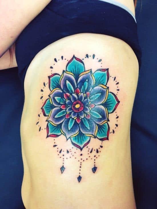 lotus-flower-tattoo-blue