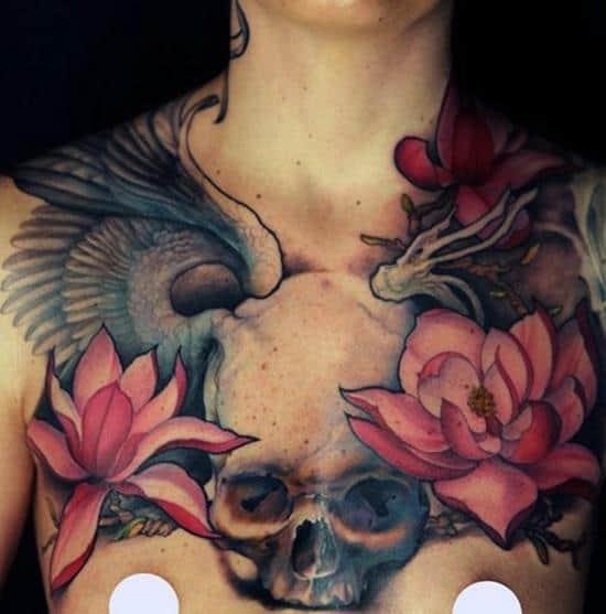 lotus-flower-tattoo-skull