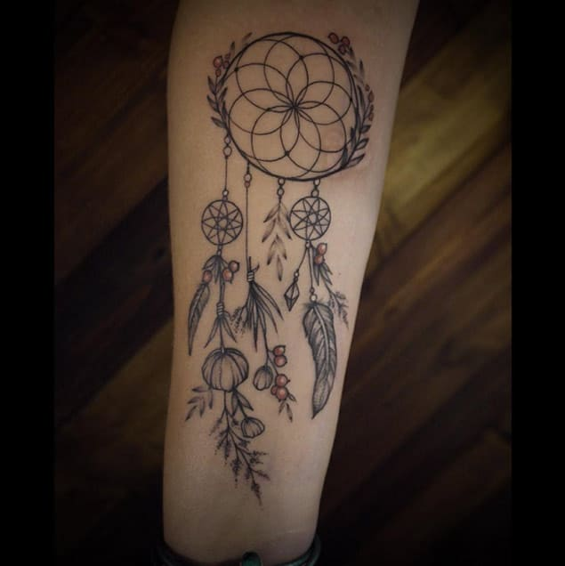 Nature Dreamcatcher Tattoo Design