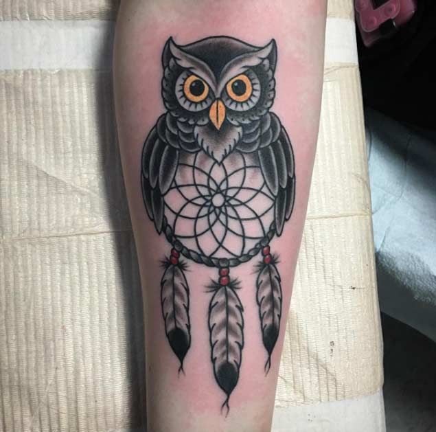 owl dreamcatcher tattoo on arm