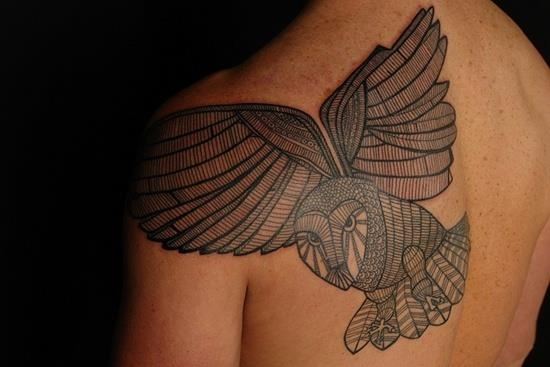 owl tattoo shoulder blade