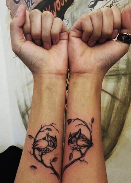heart and owls couple tattoo