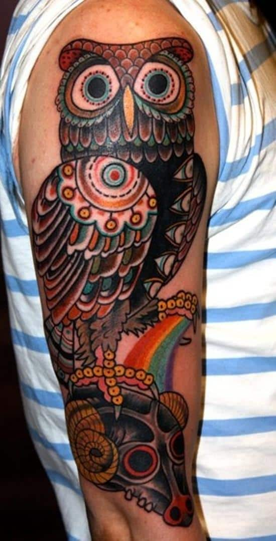 big eyed owl tattoo