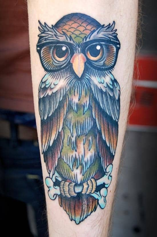 blue owl in glasses tattoo