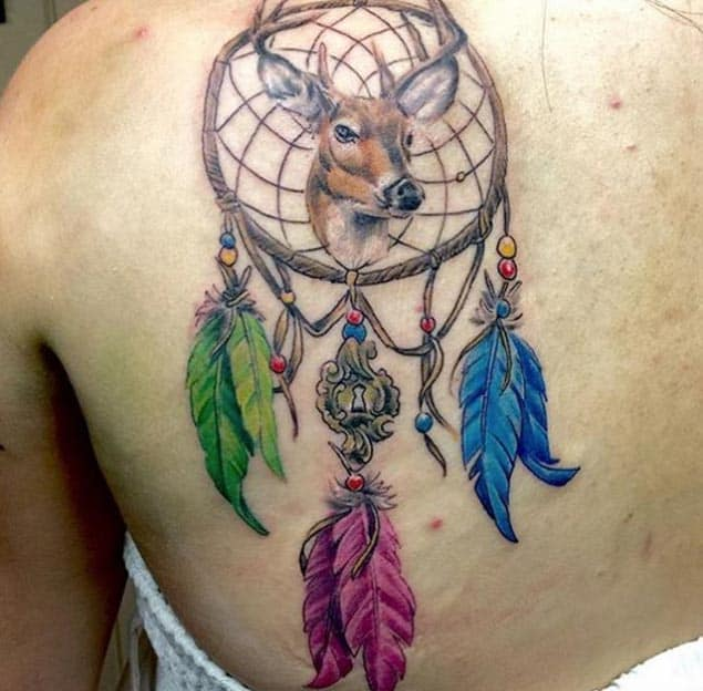 150 most popular dreamcatcher tattoos and meanings 2017 stag dreamcatcher tattoo design pronofoot35fo Choice Image