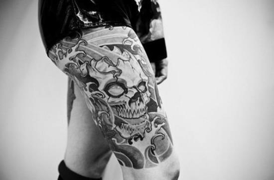 thigh-tattoo-cool-skull