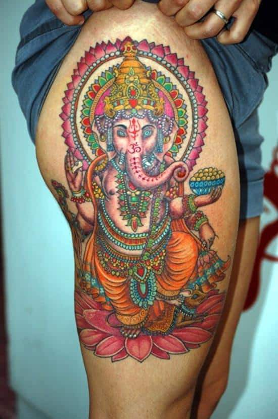 thigh-tattoo-ganesha