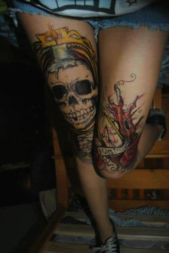 150 sexiest leg tattoos for men women june 2018 part 5 for Skull leg tattoos